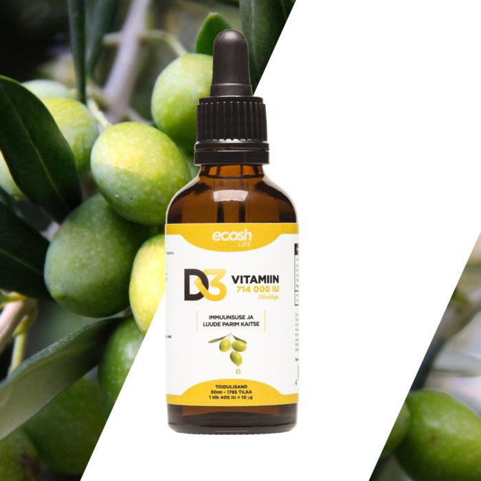 Vitamiin D3, 714000IU, PERELE, oliiviõliga, 50ml