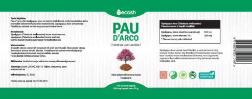 PaudArco kapsel kirjeldus