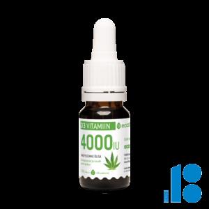 Vitamiin D3, 4000-IU tilk, kanepiõliga 10ml