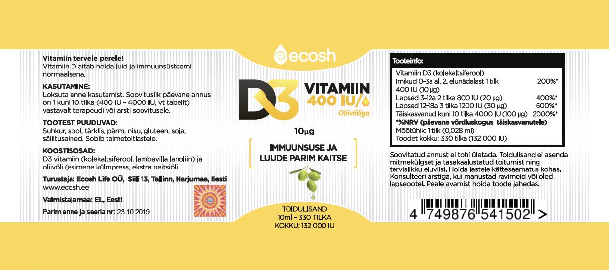 19fd4a457d8 Vitamiin D3, 400IU tilk, oliiviõliga, 10ml