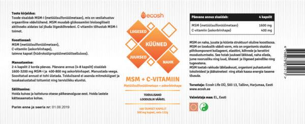 MSMCVitamiin-kirjeldus